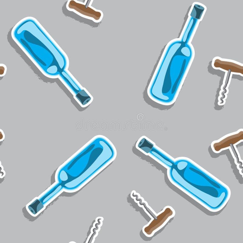 无缝的纹理酒精瓶和拔塞螺旋,颜色,传染媒介图象 向量例证