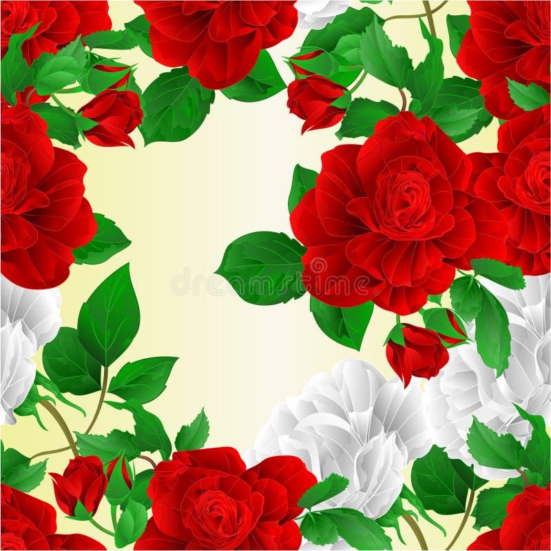 无缝的纹理阻止红色的花和白玫瑰自然背景葡萄酒编辑可能传染媒介的例证 库存例证