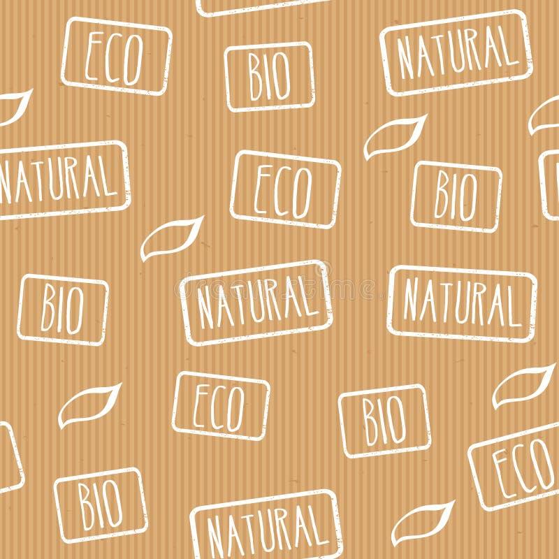 无缝的纹理 与邮票eco的牛皮纸,自然,生物 产品的准备好设计与eco标签 向量例证
