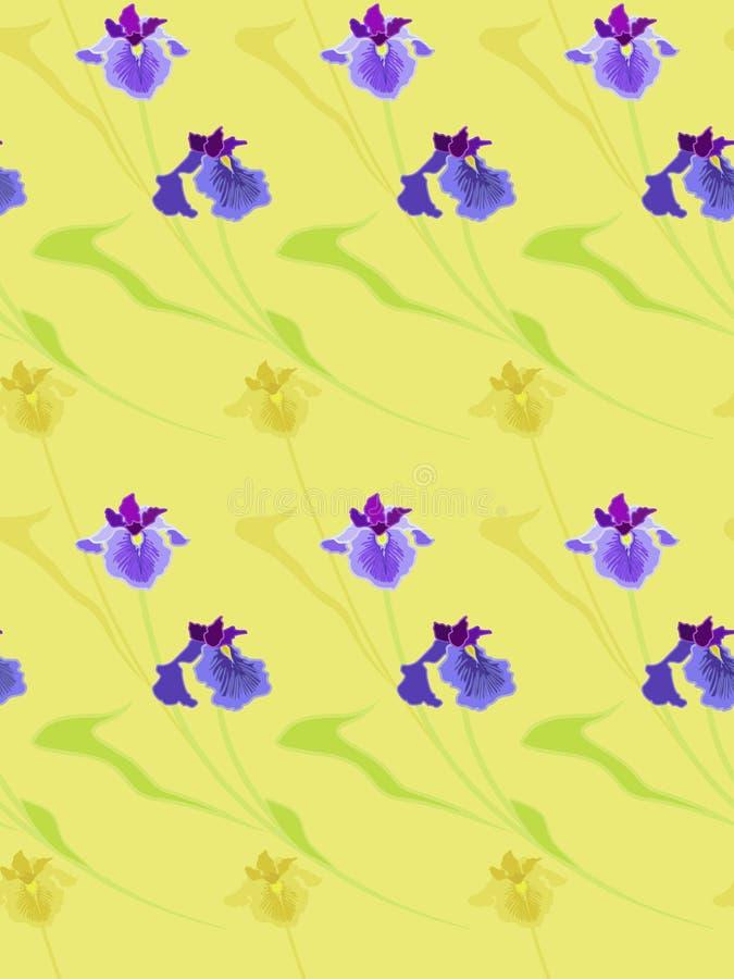 无缝的纹理 在米黄背景的蓝色虹膜 免版税库存照片