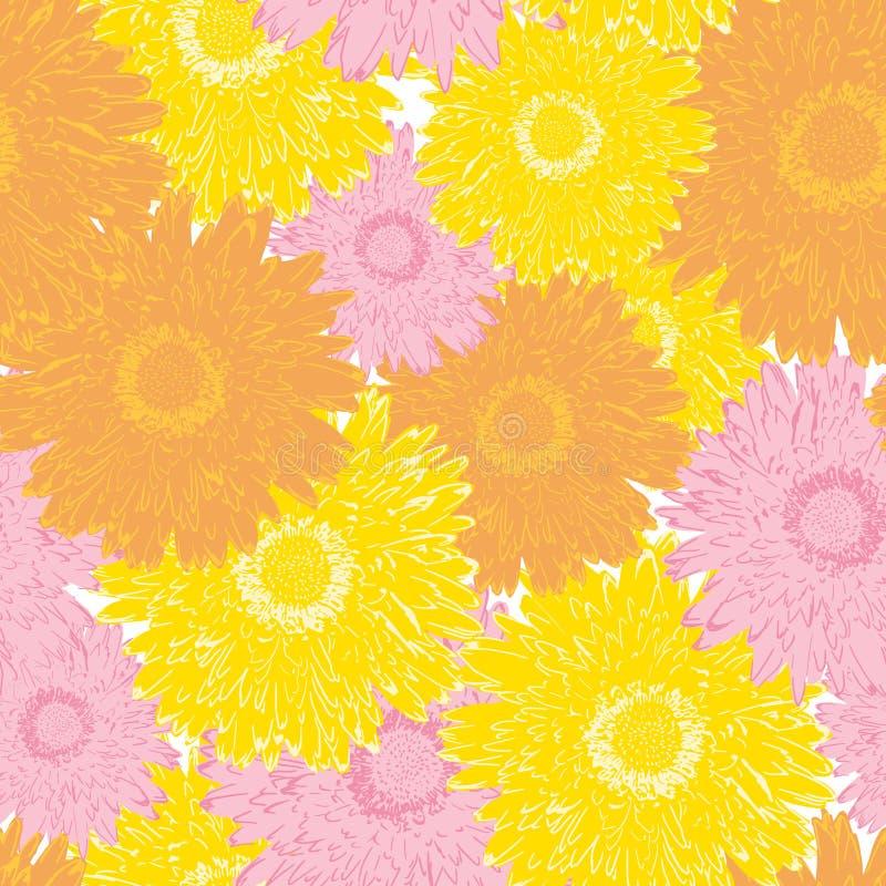 无缝的纺织品的样式五颜六色的开花的大丁草花 库存例证