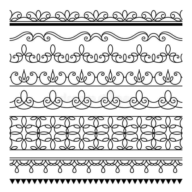 无缝的线,套简单的边界装饰品 向量例证