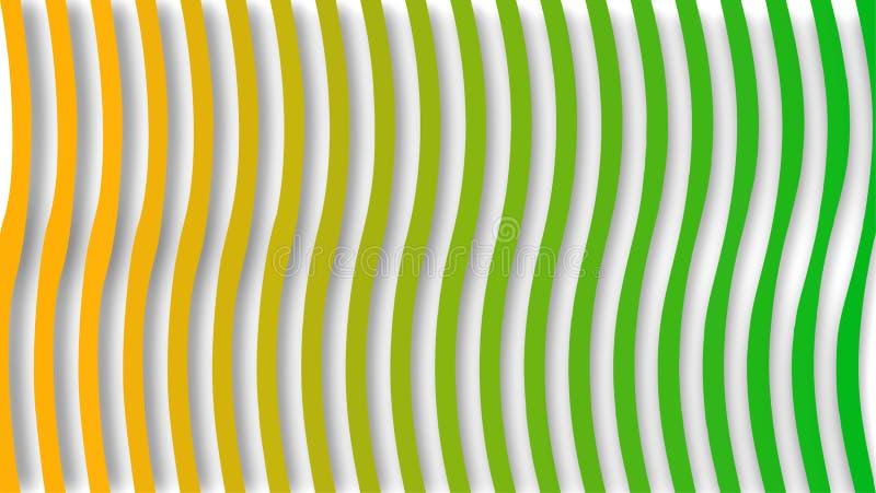无缝的绿色和黄色梯度扭转的垂直条纹在白色背景中构造 向量例证