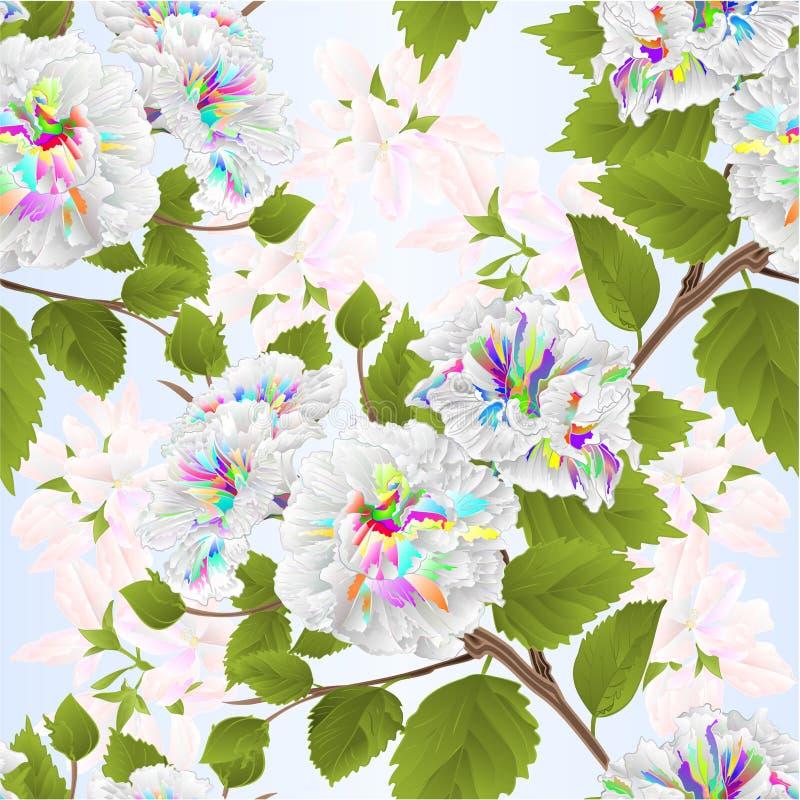 无缝的编辑可能纹理分支颜色木槿热带花自然背景水彩葡萄酒传染媒介的例证 库存例证