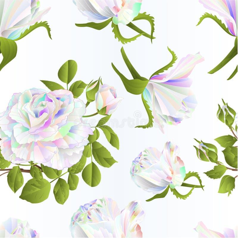无缝的编辑可能纹理多彩多姿的玫瑰和芽欢乐背景水彩葡萄酒传染媒介植物的例证 向量例证