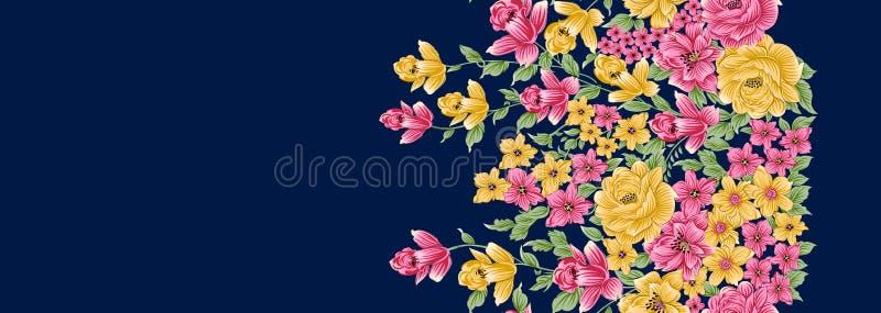 无缝的美丽的花有海军背景 皇族释放例证