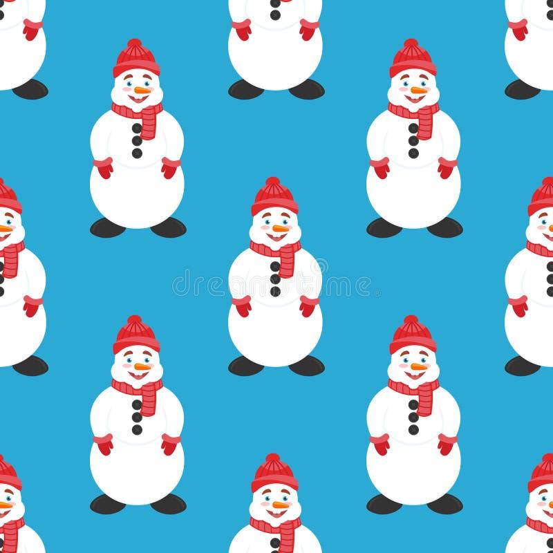无缝的背景、横幅新年或者圣诞节 逗人喜爱的雪人 现代平的设计 平面 向量例证