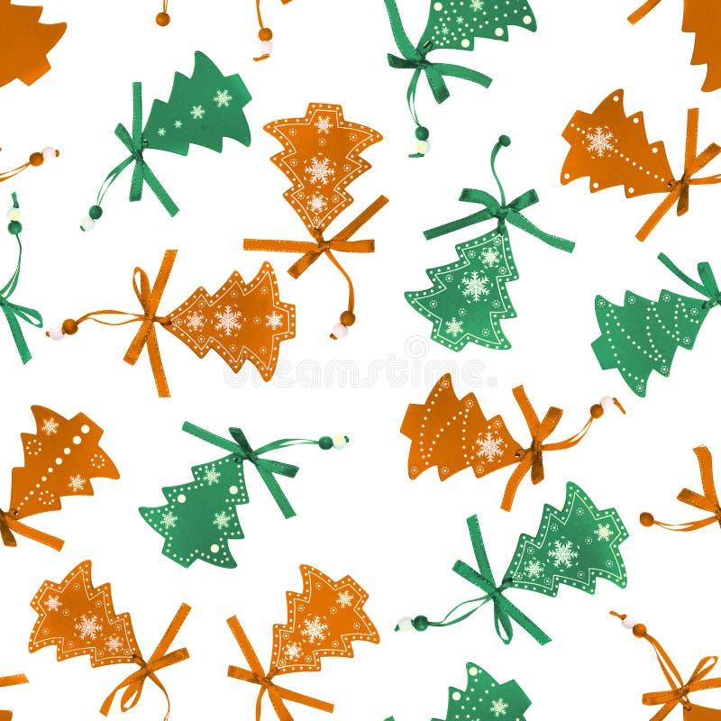 无缝的背景与ooden被隔绝的圣诞树小装饰品 向量例证