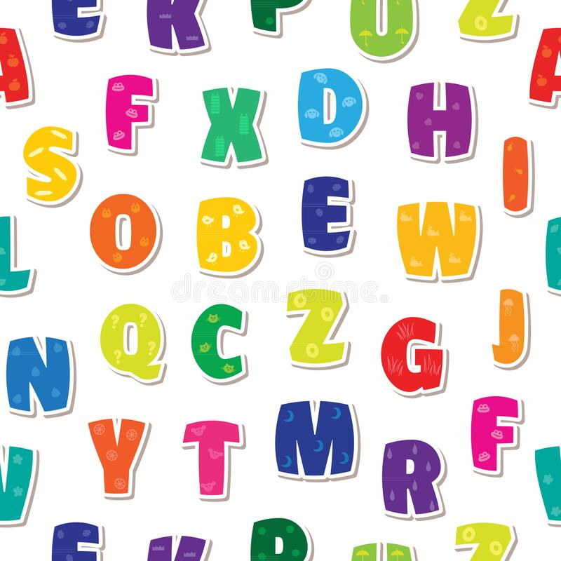 无缝的背景在孩子字母表五颜六色的彩虹上写字 库存例证