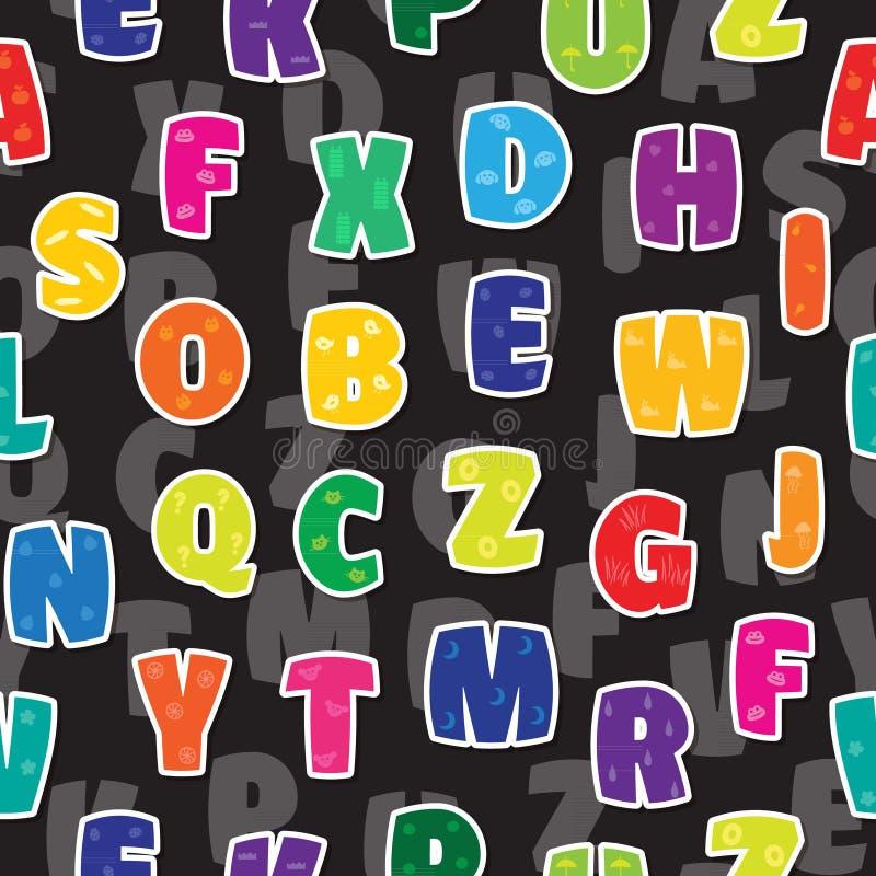 无缝的背景在孩子字母表五颜六色的彩虹上写字 皇族释放例证
