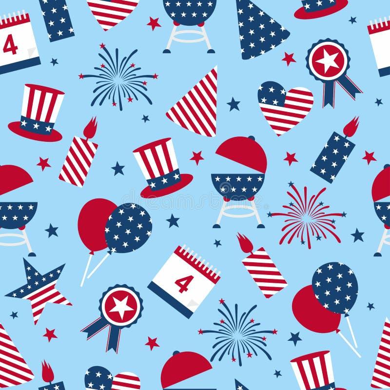 无缝的背景对天美国的独立 美国独立日的无缝的样式-美国国庆节四  库存例证