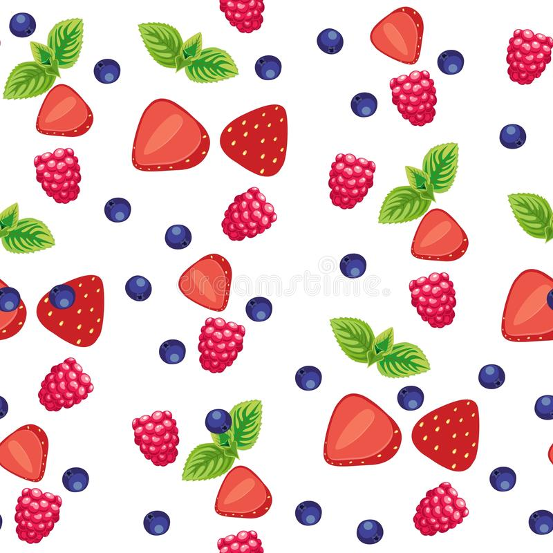 无缝的背景用各种各样的莓果和果子在浅绿色的背景 向量例证