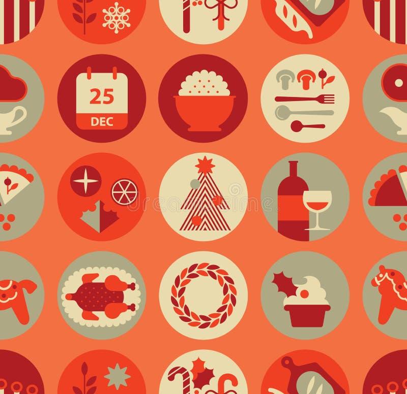 无缝的背景用圣诞节食物 皇族释放例证