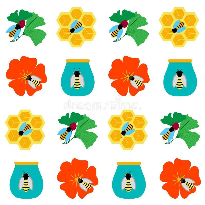 无缝的背景用在白色的蜂蜜 免版税库存照片