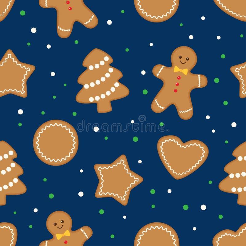 无缝的背景用姜饼圣诞节曲奇饼 库存例证