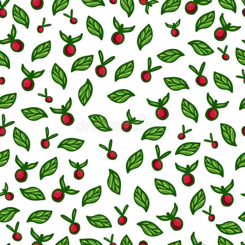 无缝的背景用红色莓果和绿色 向量例证