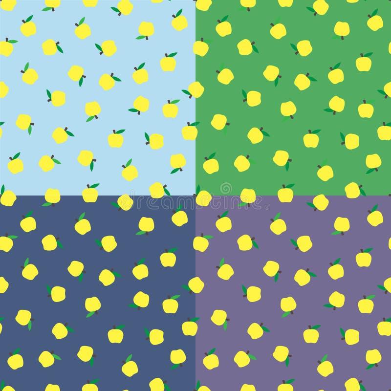 无缝的背景用黄色苹果 秋天季节性背景,学校 设计的苹果样式 向量例证