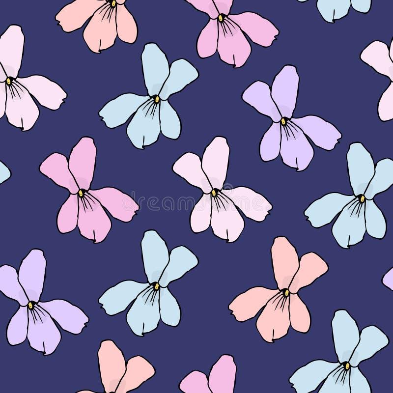 无缝的背景的,印刷品,家具室内装饰品简单的花卉样式 与原始Flo剪影的小花卉交往  库存例证