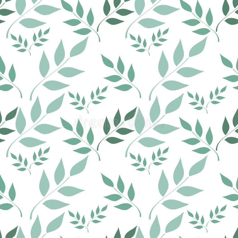 无缝的背景,与叶子的分支在白色背景 皇族释放例证