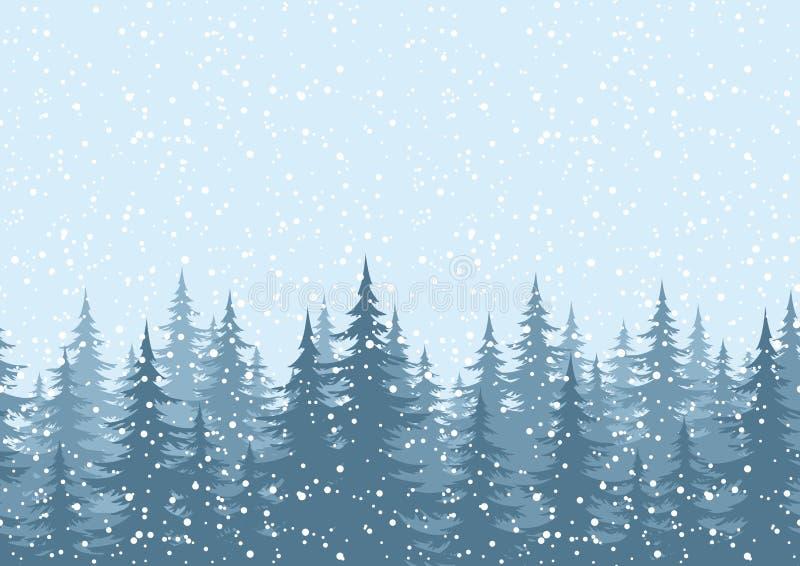 无缝的背景,与雪的圣诞树 皇族释放例证