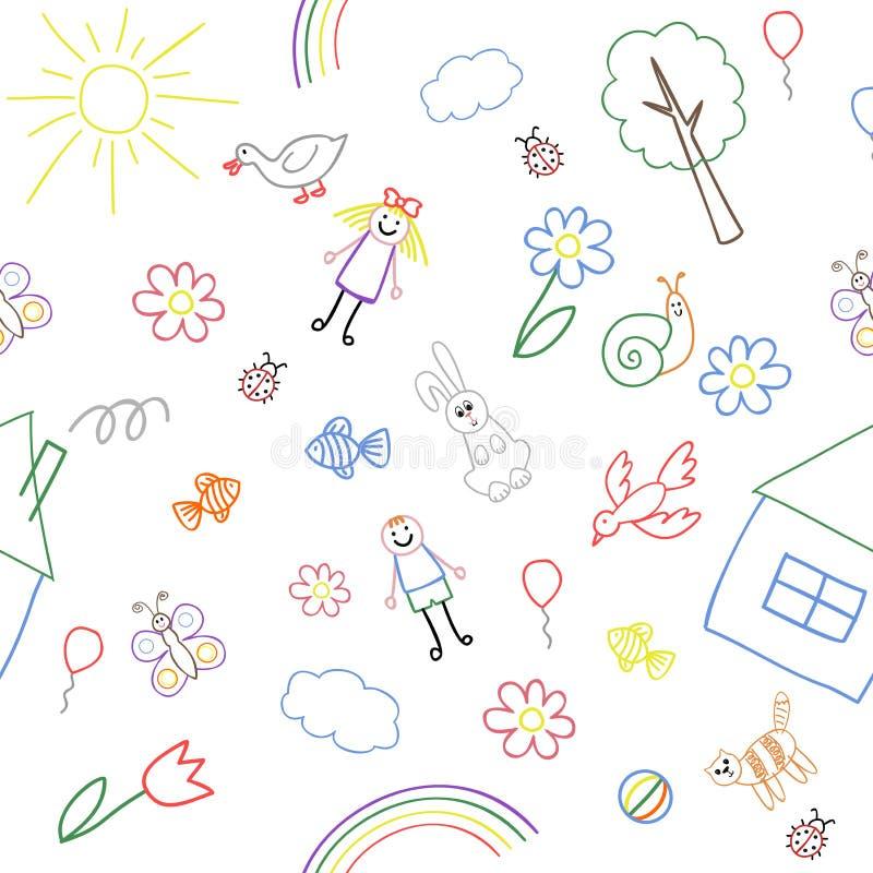 无缝的背景,从儿童` s图画的汇集的纹理 向量例证