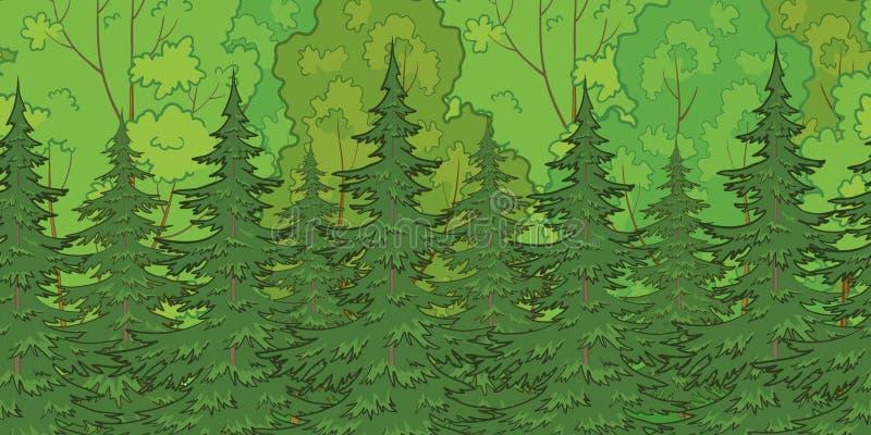 无缝的背景,森林 向量例证