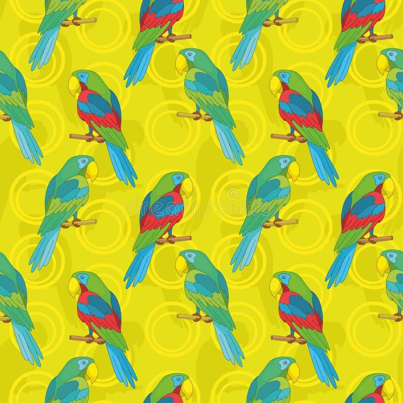 无缝的背景,鹦鹉 向量例证