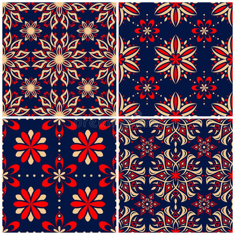 无缝的背景 与花卉样式的蓝色米黄和红色经典集合 向量例证