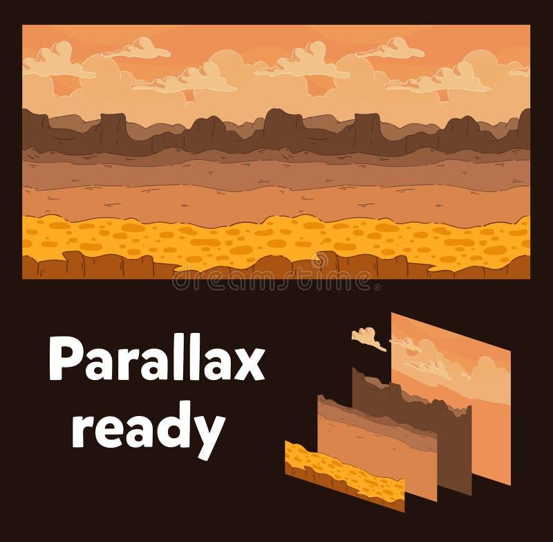 无缝的背景 游戏设计的沙漠风景 准备好的位差 皇族释放例证