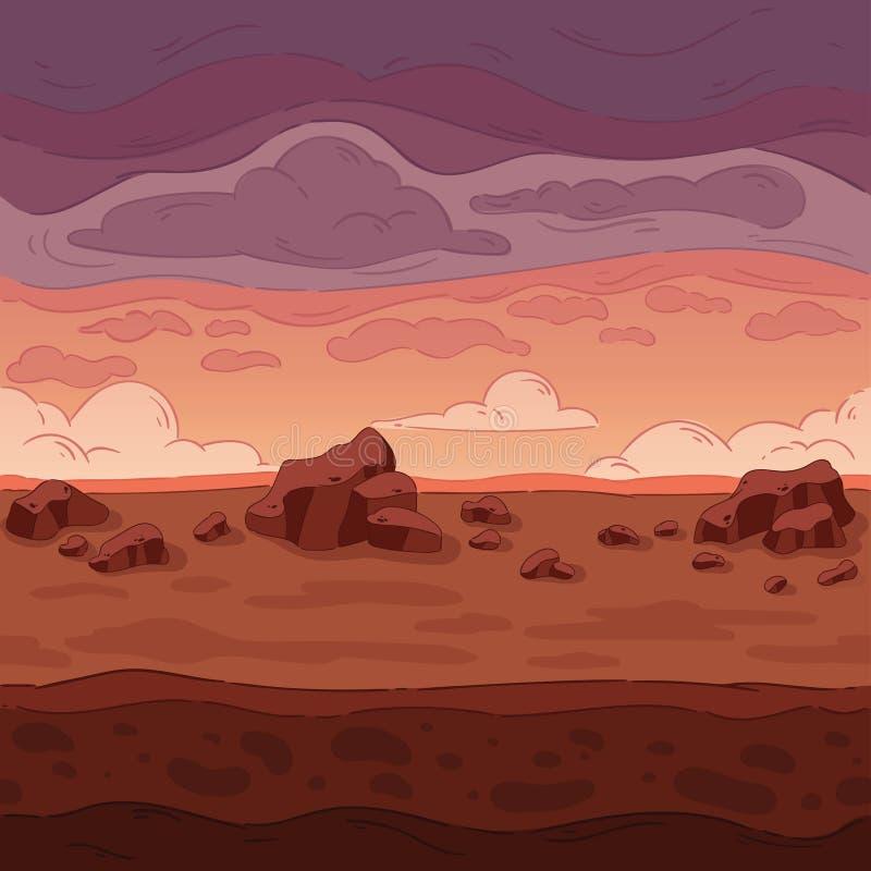无缝的背景 游戏设计的沙漠风景 皇族释放例证