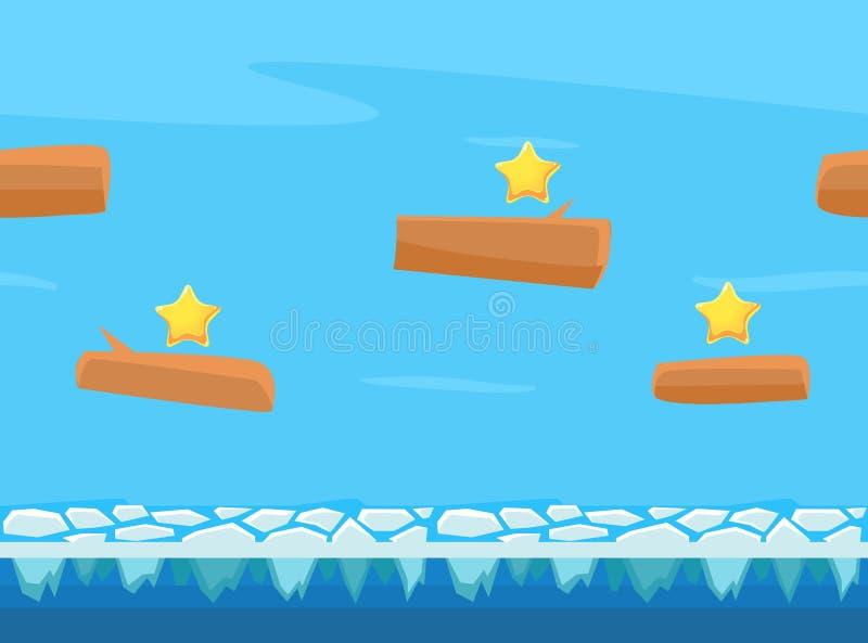无缝的自然风景、无止境的背景与地面和天空,幻想平台比赛用户界面传染媒介的 向量例证