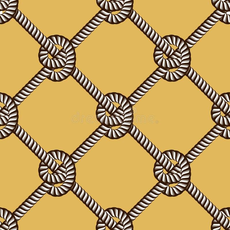 无缝的船舶绳索样式传染媒介 与圈绳子线装饰品的不尽的海军例证 与结时髦不尽的绳子 皇族释放例证