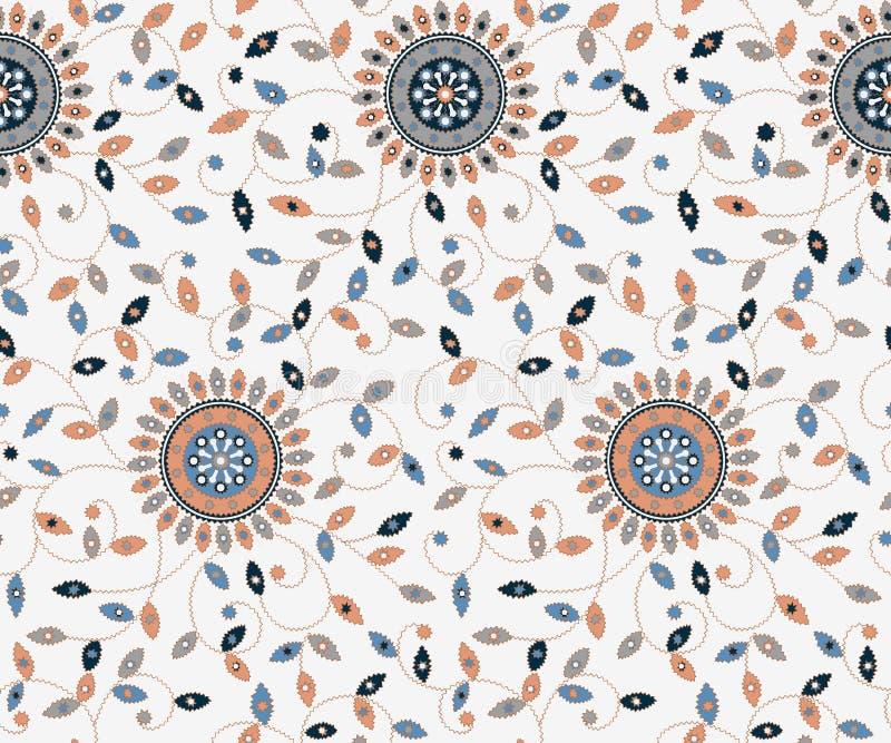 无缝的花卉刺绣设计样式 皇族释放例证