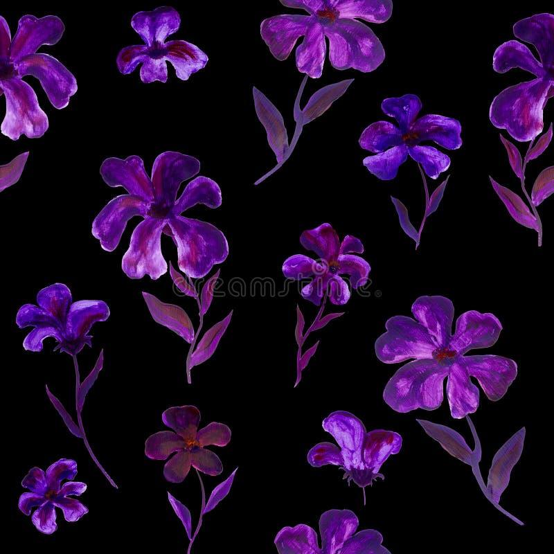 无缝的花卉在黑暗的样式紫罗兰色和紫色手画花 库存图片