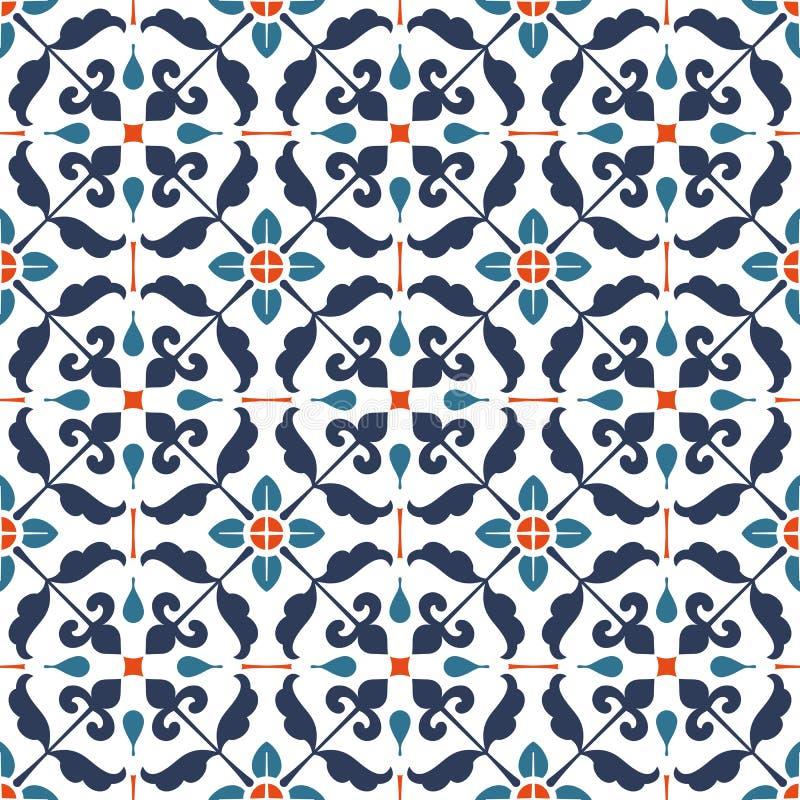 无缝的花卉抽象几何样式背景 葡萄酒f 向量例证
