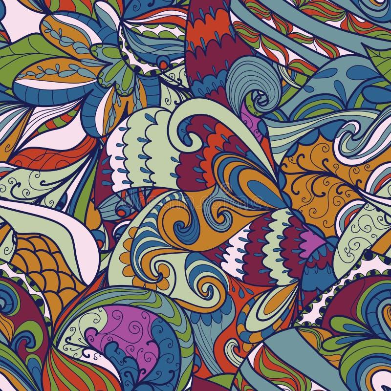 无缝的花卉抽象手拉的波动图式 皇族释放例证