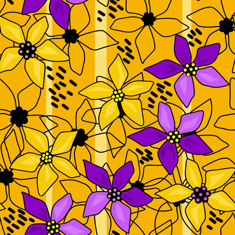 无缝的花卉抽象样式黄色 皇族释放例证