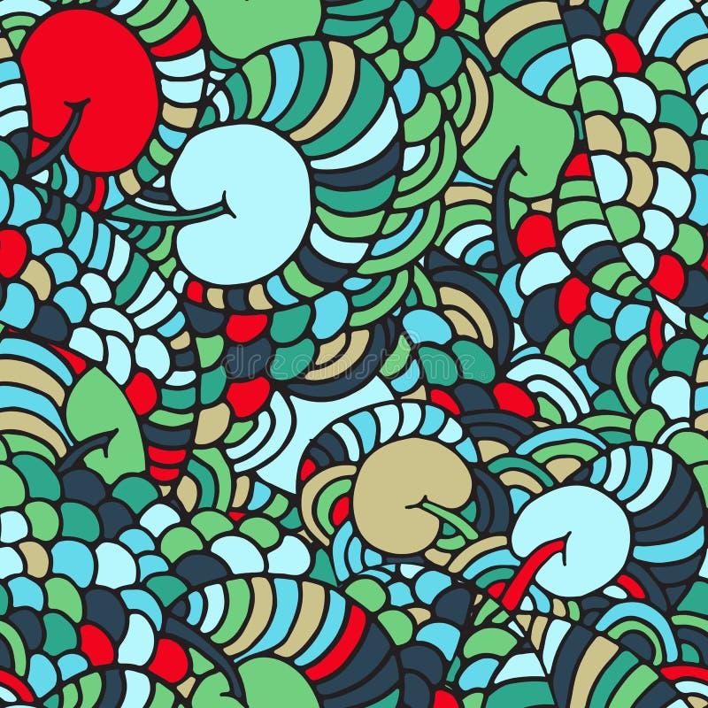 无缝的花卉抽象波浪装饰品,手拉的传染媒介例证由简单的乱画做成 缠结样式,充满活力的纹理 库存例证