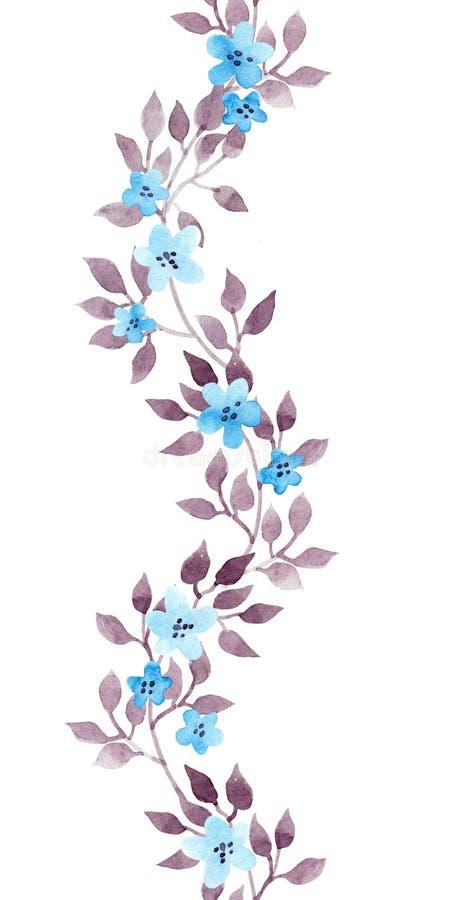 无缝的花卉条纹边界-手画水彩逗人喜爱的花和叶子 被重复的模式 向量例证