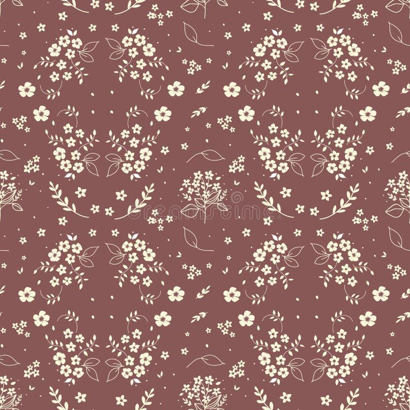 无缝的花卉样式手拉的小白色剪影在花束在深红背景,织品, scrapbo的枝杈莓果开花 库存例证
