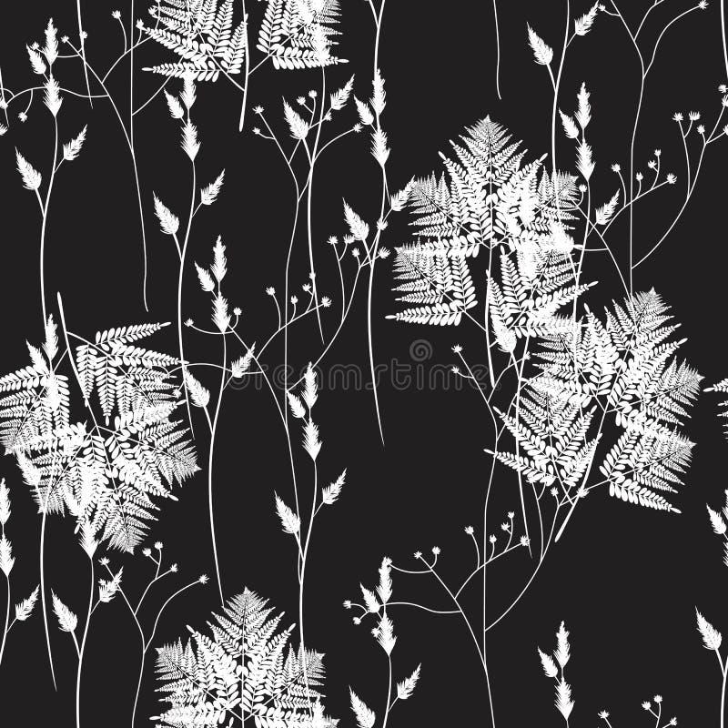 无缝的花卉样式用狂放的草本和蕨 背景干燥花卉脏的叶子老纸工厂弄脏了葡萄酒 皇族释放例证