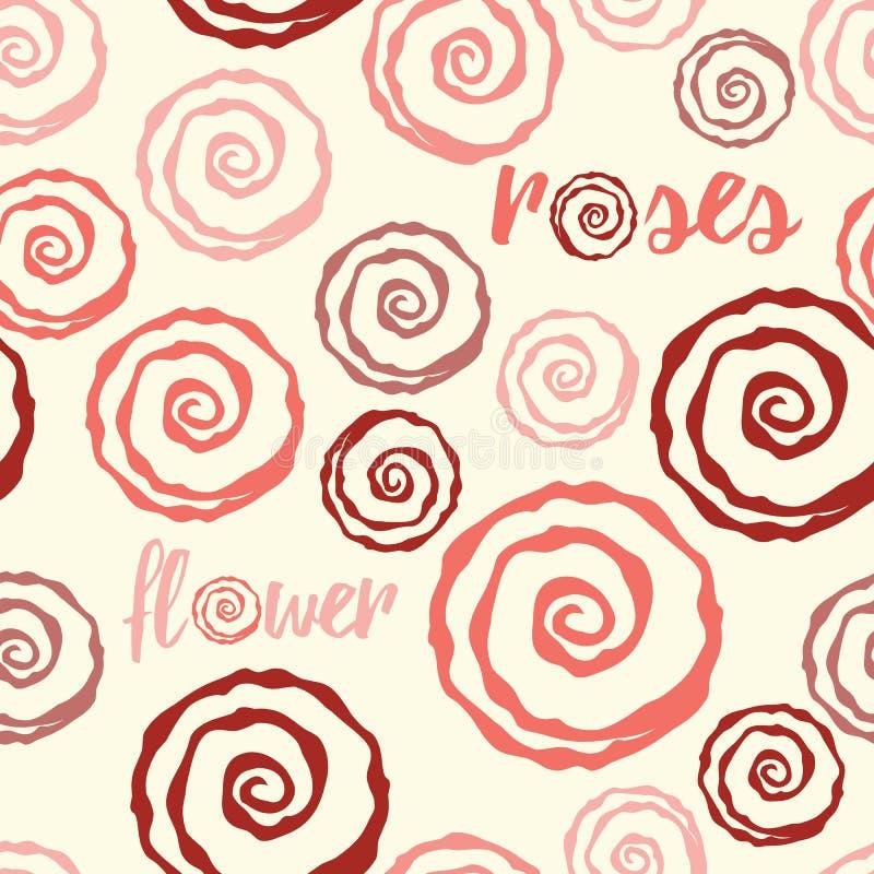 无缝的花卉样式由与手拉的逗人喜爱的玫瑰和字法元素的桃红色颜色做成 库存例证