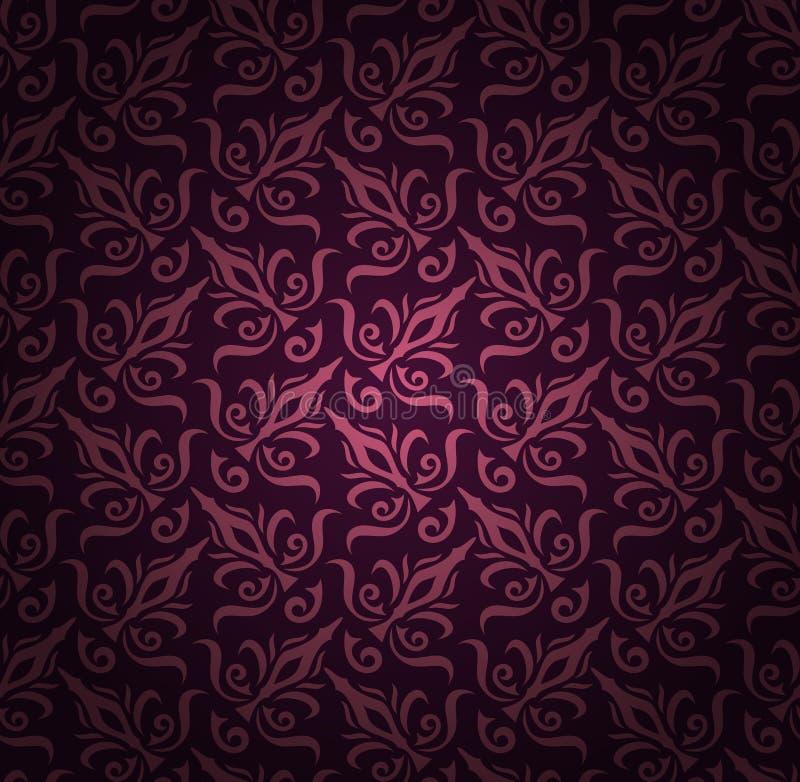 无缝的花卉样式背景。锦缎豪华皇家样式墙纸。锦缎无缝的花卉样式。葡萄酒 库存例证