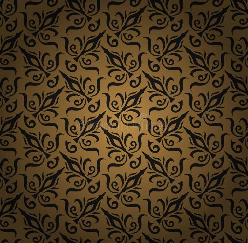 无缝的花卉样式背景。锦缎豪华皇家样式墙纸。锦缎无缝的花卉样式。 向量例证