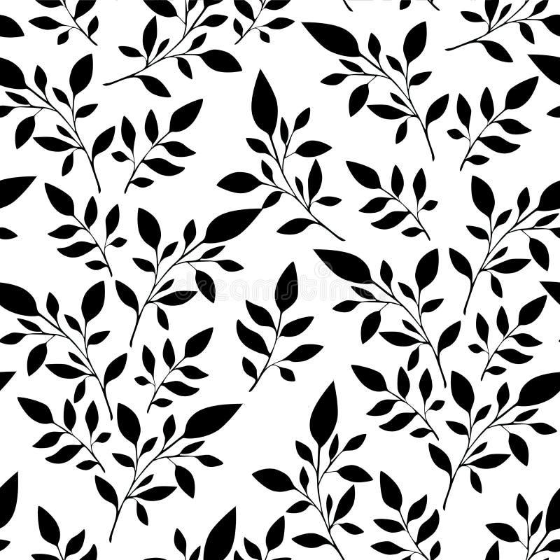 无缝的花卉样式,黑叶子在白色背景织物印刷的或背景,墙纸,广告,横幅 库存例证