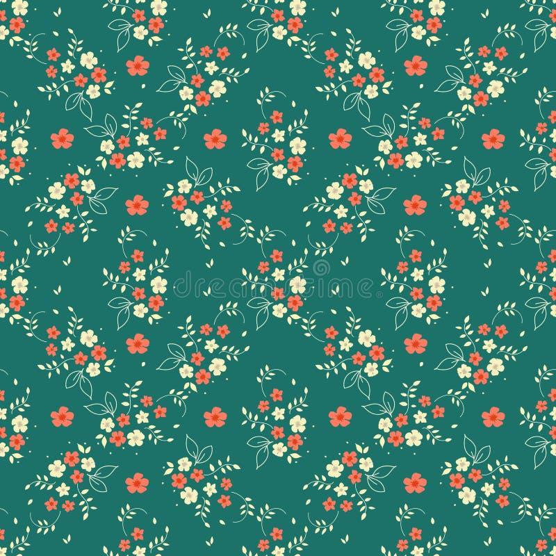 无缝的花卉样式millefleurs红色白花花束在金刚石形状装饰品把小树枝留在被安排在深绿backgr 库存例证