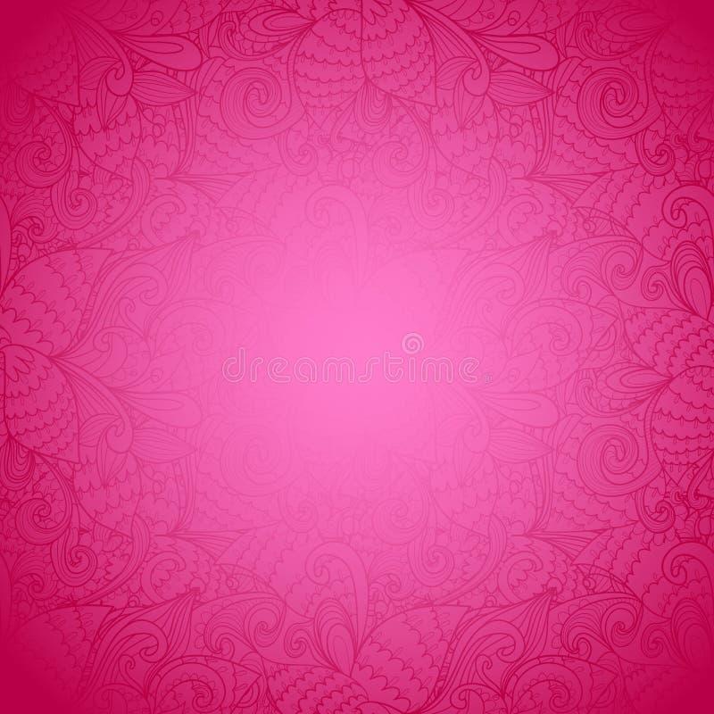 无缝的花卉桃红色抽象手拉的纹理 库存例证