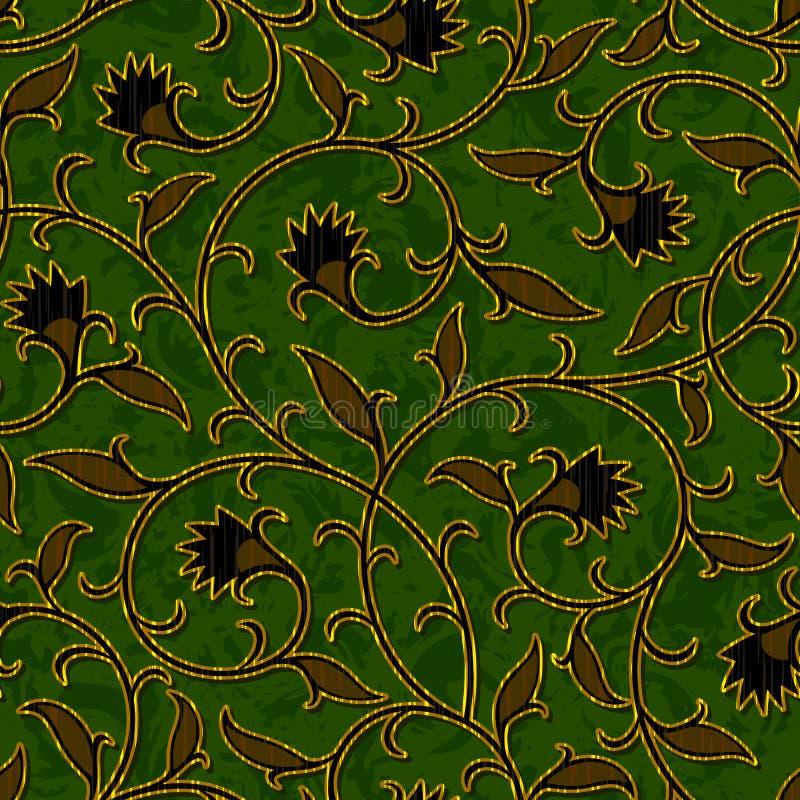 无缝的花卉深绿锦缎样式背景 皇族释放例证