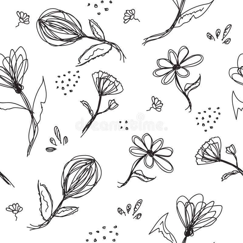 无缝的花卉背景、符号花和叶子 库存例证