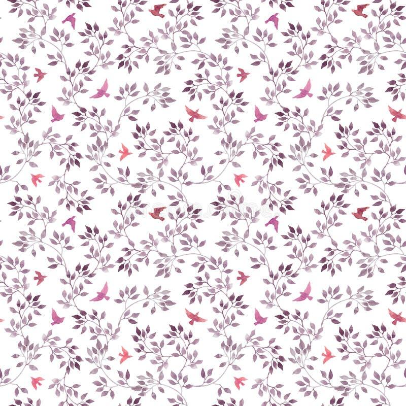 无缝的花卉背景-逗人喜爱的花、叶子和飞鸟 水彩手画艺术 库存例证